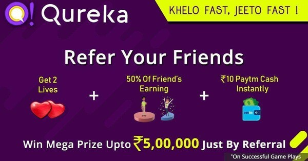 Qureka refer and earn offer