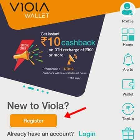 register on viola wallet