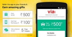 (Expired ) Via.com App- Get 100 Rs Free Recharge by Referring 10 Friends