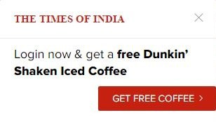 timesofindia free coffee offer